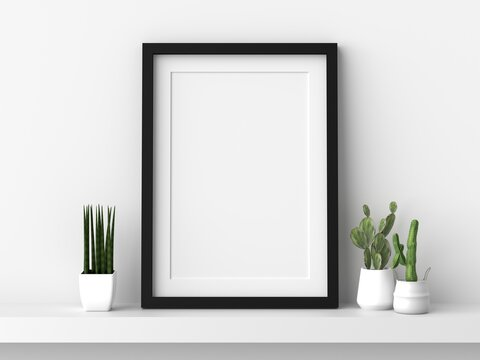 Empty photo frame hanging for mockup in empty white room. 3D rendering.
