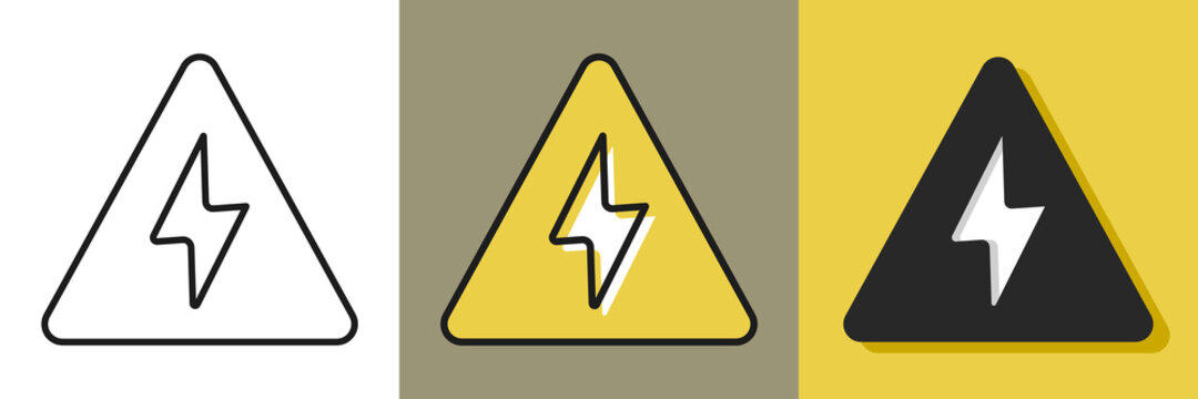 Lightening bolt icon. High voltage caution concept. Flat icon in different style. Isolated.