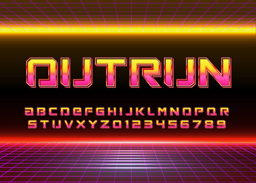 Retro Futuristic 80s font style. Vector alphabet with chrome effect template for game title, poster headline, old style