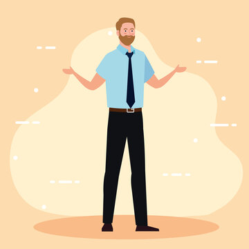 Businessman cartoon with necktie design, business and management theme Vector illustration