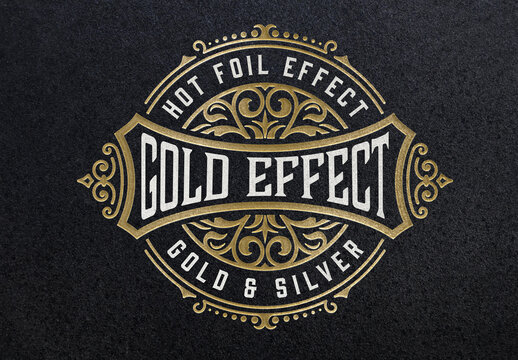 Gold Foil Paper Pressed Effect Mockup