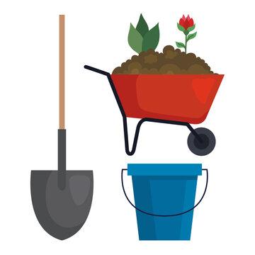 Gardening shovel wheelbarrow and bucket design, garden planting and nature theme Vector illustration