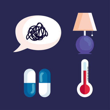 insomnia stress bubble lamp pills and thermometer design, sleep and night theme Vector illustration