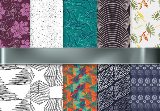 Seamless Pattern Collection with Rough Abstract Strokes and Floral Elements