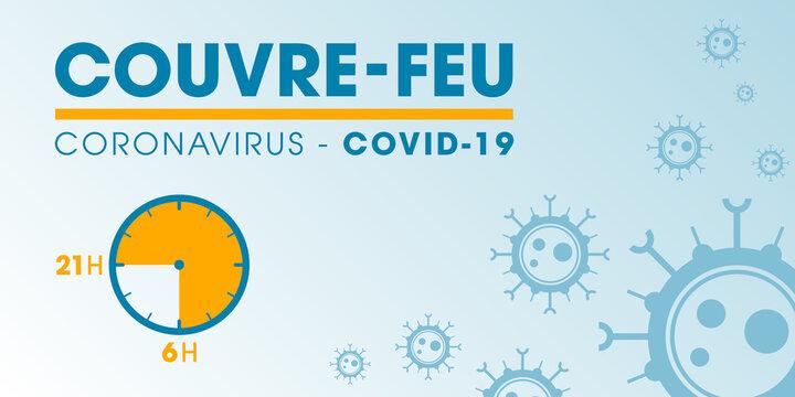 Couvre-feu dans les grandes métropoles de France - pandémie du coronavirus covid19 - déplacement interdit de 21h à 6h - icône de pendule - illustration vectorielle