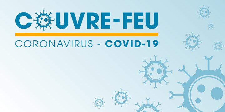 Couvre-feu dans les grandes métropoles de France - pandémie du coronavirus covid19 - déplacement interdit de 21h à 6h - illustration vectorielle