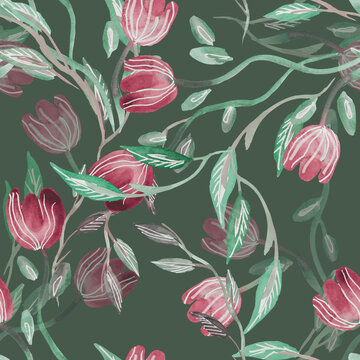 Tulips Seamless Pattern. Watercolor Background.