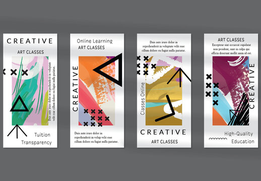 Flyer Layout with Black Shapes and Bright Abstract Rectangles