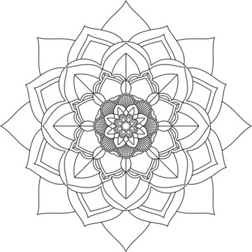 Easy Mandala coloring book simple and basic for beginners, seniors and children. Set of Mehndi flower pattern for Henna drawing and tattoo. Decoration in ethnic oriental, Indian style.