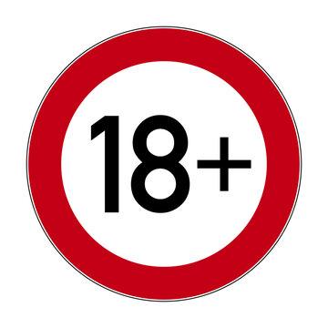 Über 18 Schild