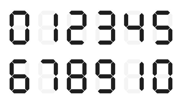 Digital numbers 0 - 10 on white background. flat style. digital numbers icon for your web site design, logo, app, UI.