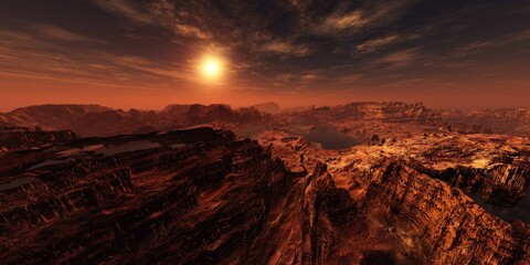 Martian channels, Mars planet surface at sunset, Alien surface of the planet at sunrise, Martian sunset, Mars at sunset, Sunrise on Mars, 3D rendering