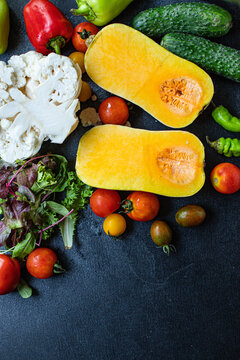 vegetables many different and pumpkin set of ingredients fresh ripe vegetables for cooking meal on the table tasty serving size portion top view copy space for text food background rustic