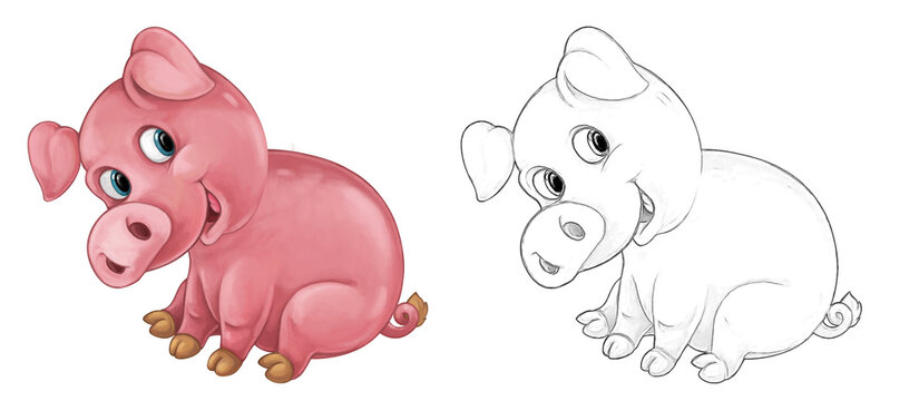 Cartoon sketch scene pig is standing looking and smiling - illustration