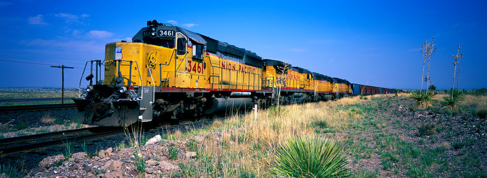 Union Pacific railroad freight train in Arizona.