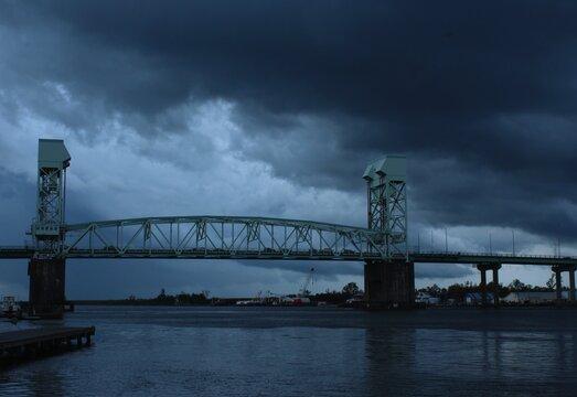 Storm clouds over the Cape Fear Memorial Bridge, Cape Fear River, Wilmington, NC