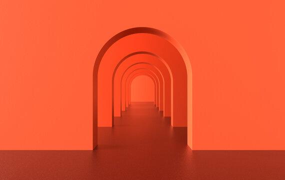 3d rendering. Arch hallway simple geometric background, architectural corridor, portal, arch columns inside empty wall. Modern minimal concept