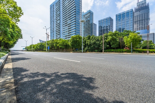 urban traffic road with cityscape in background, China.