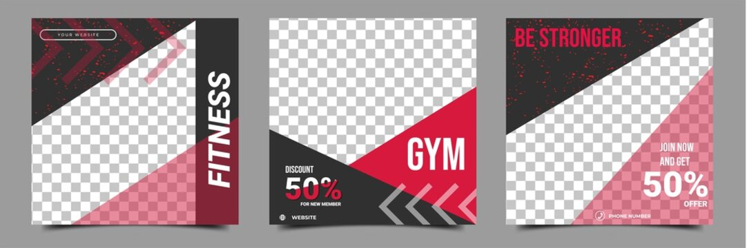 Set of editable square banner template. Gym and workout social media post template. Red and black shape with arrow line. Perfect for social media post, story and web internet ads.