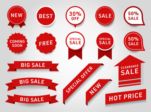 Sticker design of label, ribbon banner, banner web sticker illustration