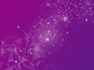 ネットワークをイメージしたポリゴンデザインの背景素材/紫/横長