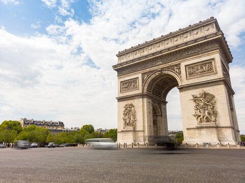 Triumphal arch in Paris France long exposure