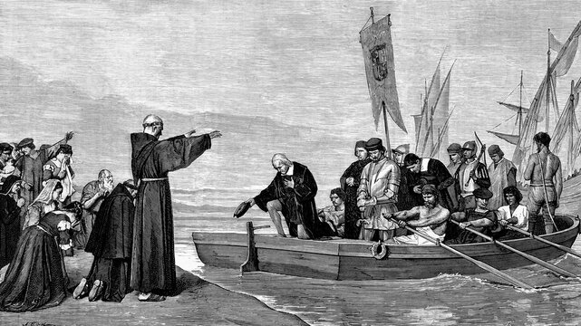 Departure of Christopher Columbus from the port of Palos, Spain, for the discovery of America. August 3rd. 1492, Antique illustration. 1875.