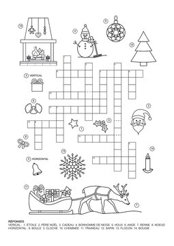 Crossword puzzle. This Christmas theme crossword puzzle game is for kids. French language.