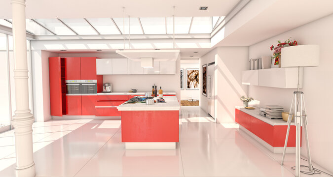 Industrial style domestic kitchen with skylight in red and white