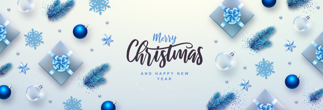 Merry Christmas and Happy New Year greeting card. Top view Christmas holiday background with fir tree, snowflakes, glass balls, gift boxes and stars