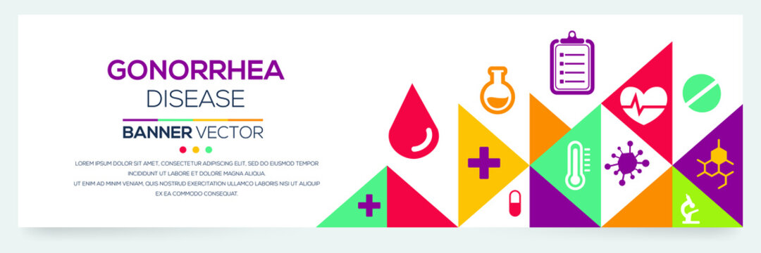 Creative (Gonorrhea) disease Banner Word with Icons ,Vector illustration.