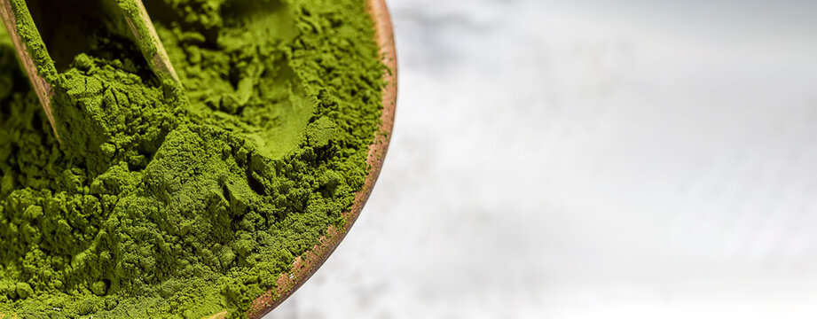 Green powder chlorella, spirulina on gray concrete background. Concept dieting, detox, healthy superfood, which contains protein.