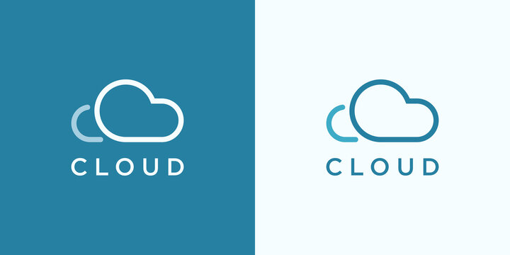 Abstract Cloud Logo. Blue Linear Shape Cloud Computing isolated on Double Background. Usable for Business and Technology Logos. Flat Vector Logo Design Template Element.
