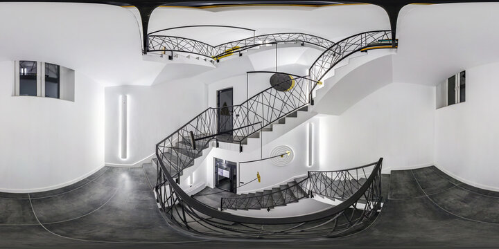 full seamless spherical hdri panorama 360 degrees in room with emergency and evacuation exit spiral stair in up ladder with halogen lamps in equirectangular projection