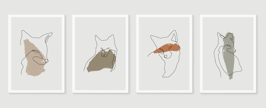 .Dog wall art vector set. Earth tones animal line arts backgrounds set with fox and wolf.  Abstract Arts design for print, cover, wallpaper, Minimal and  natural wall art. Vector illustration...