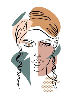 portrait of a woman, minimalist face art with continuous line strokes, geometric shapes - rectangle, circle, triangle, skintones with green color scheme, fashion illustration