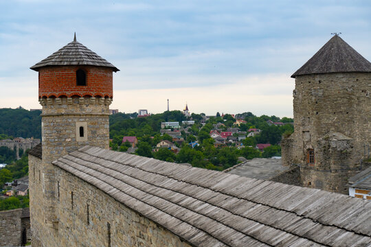 Sceneric view at tower of medieval stone castle at Kamenets Podolskiy,famous touristic place in Ukraine.