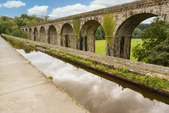 The historic canal aqueduct built in 1801 and the railway viaduct built in 1848 prominent landmarks at Chirk North Wales a world heritage site