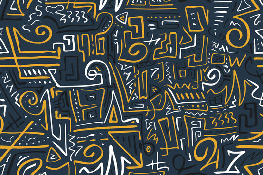 Seamless Stylized African Pattern. Ethnic and Tribal Motifs. Can Be Used for Textile, Prints, Phone Case, Greeting Card