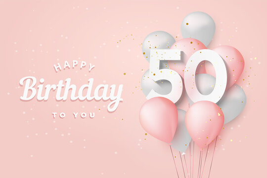 Happy 50th birthday balloons greeting card background. 50 years anniversary. 50th celebrating with confetti. Vector stock