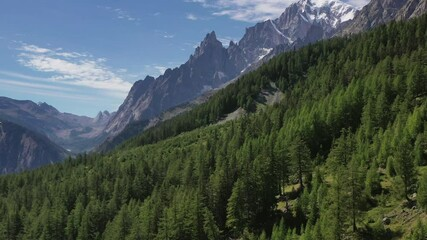 Wall Mural - Scenic Italian Alps and Mont Blanc Massif Aerial Footage. Ferret Valley Area Northern Italy.