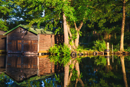 Old boat shed on the canal