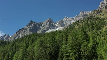 Wall Mural - Southern Side of Mont Blanc Massif Mountains Landscape in Aerial Footage. North Italy.