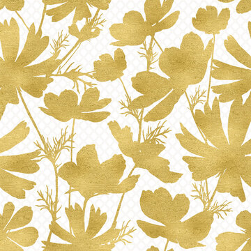 Pattern Autumn Gold Cosmos Flowers with Subtle Trellis Background Paper
