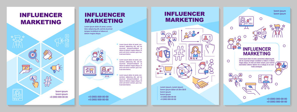 Influencer marketing brochure template. Social media ecommerence. Flyer, booklet, leaflet print, cover design with linear icons. Vector layouts for magazines, annual reports, advertising posters