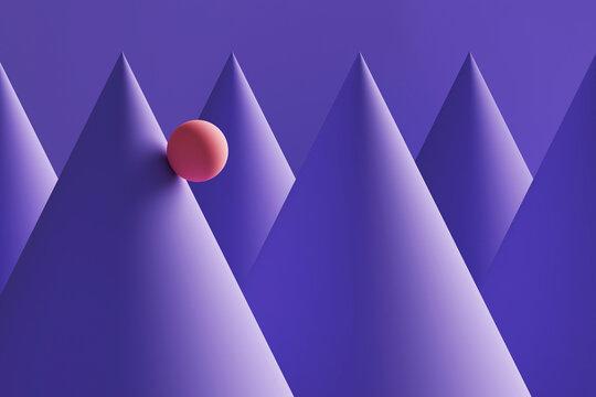Three dimensional render of orange sphere rolling down purple cones
