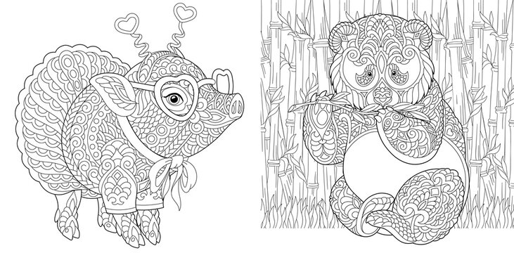 Coloring page. Cute pig and panda bear. Line art drawing for adult or kids coloring book in zentangle style. Vector illustration.