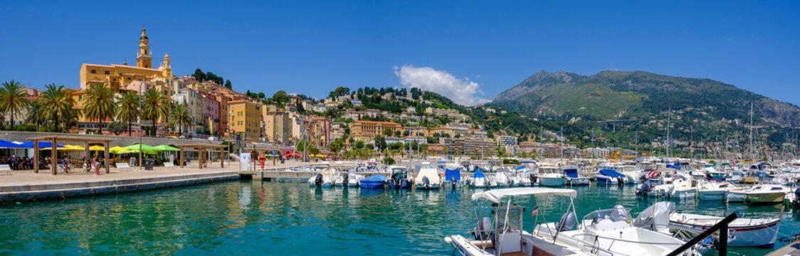 France,ÔøΩProvence-Alpes-CoteÔøΩdAzur, Menton, Motorboats moored in harbor of coastal town in summer