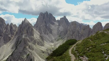 Wall Mural - Mountain Scenery. Scenic Alpine Trail in Italian Dolomites Aerial Vista