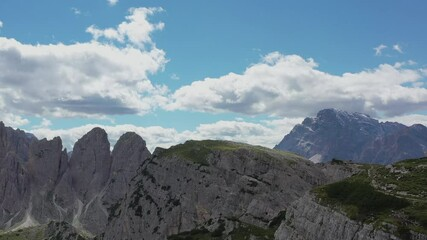 Wall Mural - Scenic Sunny Day in the Italian Dolomites Region Aerial Footage